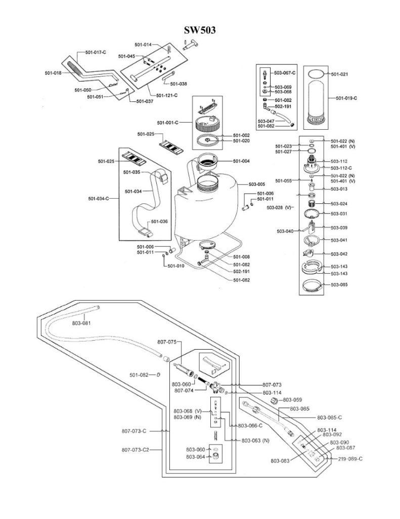 Parts Breakdown drawing for SW503 Swissmex Sprayer